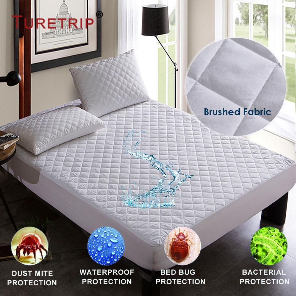 turetrip brushed fabric quilt waterproof mattress pad cover fitted