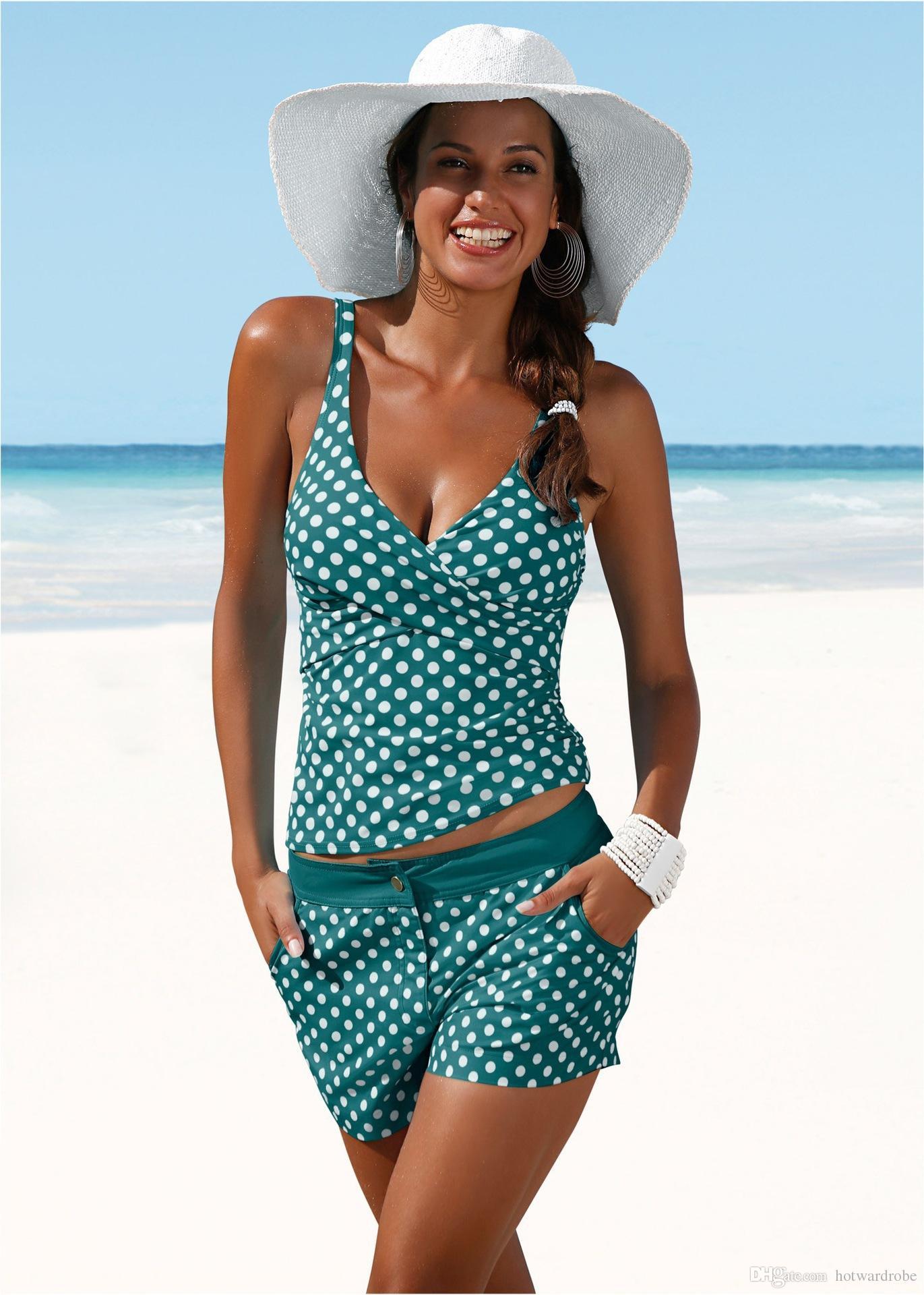 ea7c3354c86 2019 2018 New Plus Size Swimwear Women Swimsuit Two Pieces Tankini Padded Bathing  Suit Polka Dot High Waist Bikini Set Beachwear From Hotwardrobe, ...
