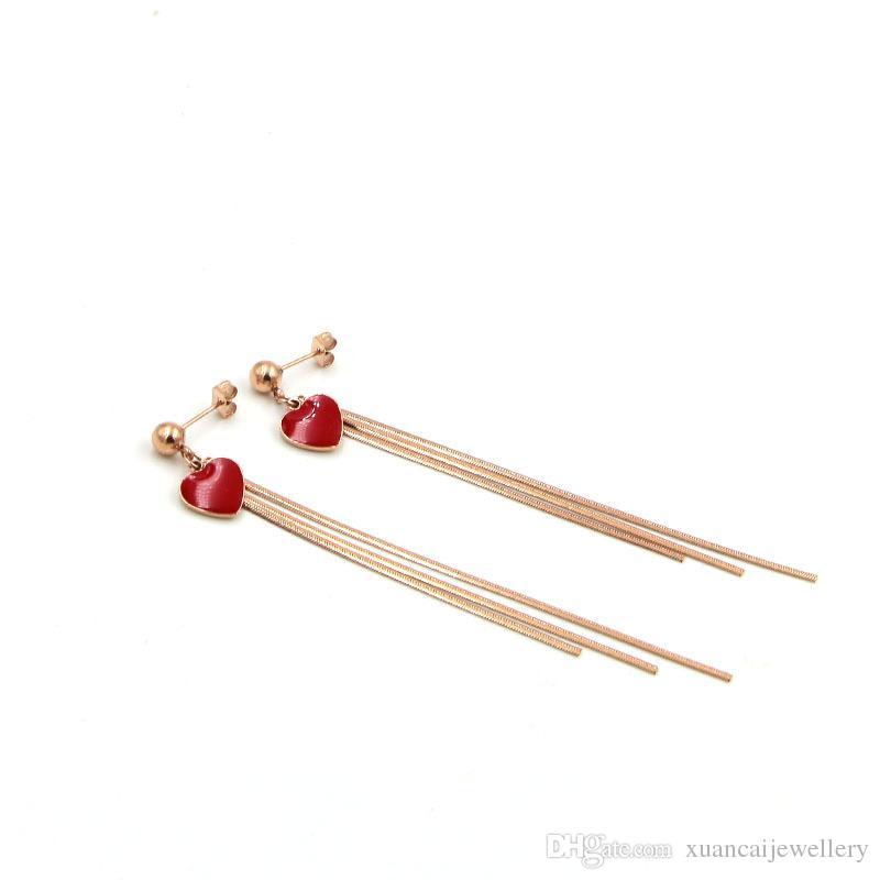 Big red peach heart earrings three snake chain tassel long ear studs, tide character titanium ear Earrings