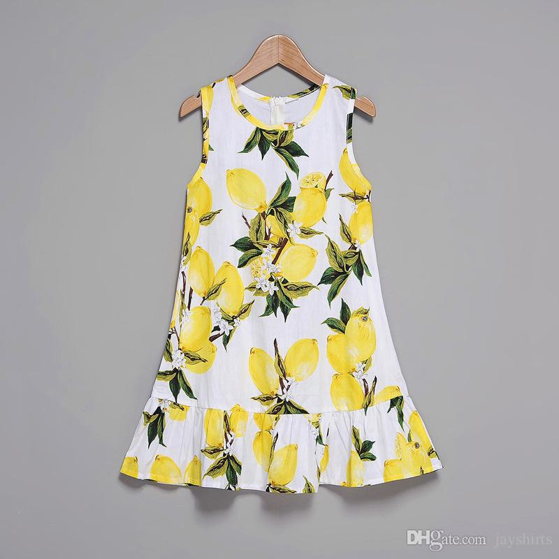 Summer Newest Dress For Mother And Daughter Family Matching Outfits Lemon Fruit Printed Dress For Mom And Me