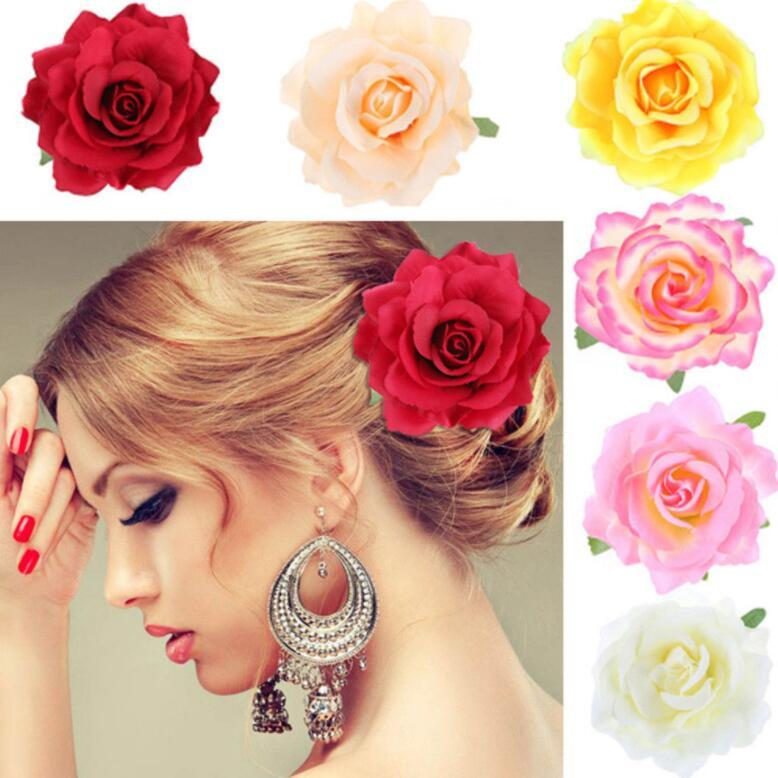 Bridal Wedding Hairpin Simulation Rose Hairpin Brooch Flower Seaside Sandy Beach Woman Artificial Flower Hibiscus Bridal Hair Clip KKA5817