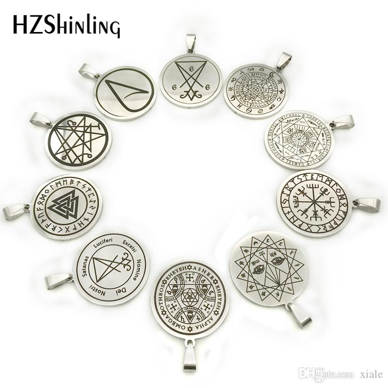 New Witch On A Broom Pendant Round Hand Craft Stainless Steel Necklace Silver Art Jewelry Ball Chain Gifts For Men