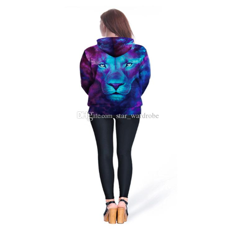 2018 New Fashion Long Sleeve Anime lion 3D Print Hoodies Sweater Sweatshirt Jacket Pullover Purple Women Couples With Hat Baseball clothing
