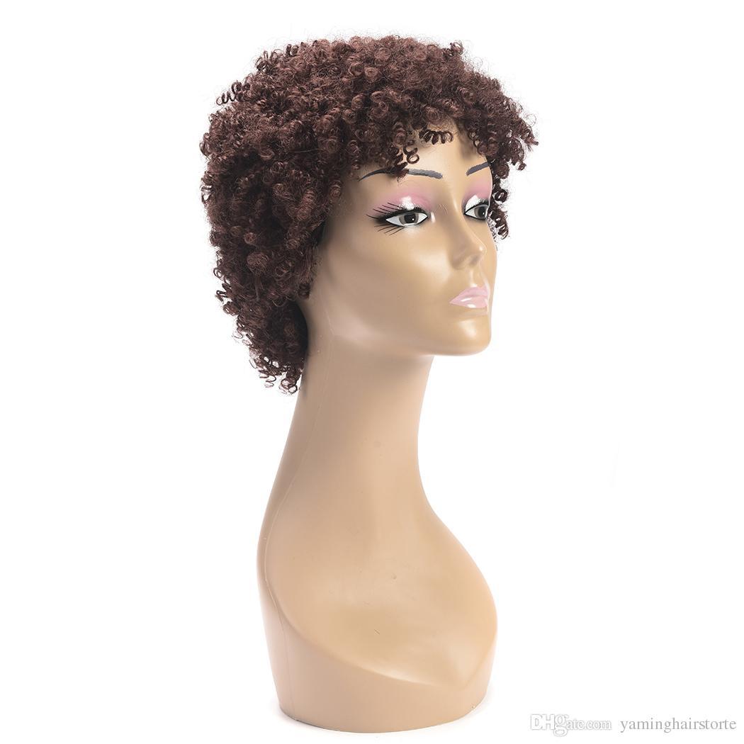 패션 아프리카 가발 조절 합성 짧은 아프리카 변태 곱슬 가발 갈색 짧은 가발 코스프레