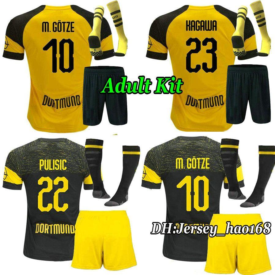 44edf1031 18 19 REUS Dortmunds Kits Adult Home Yellow Soccer Jersey PULISIC ...