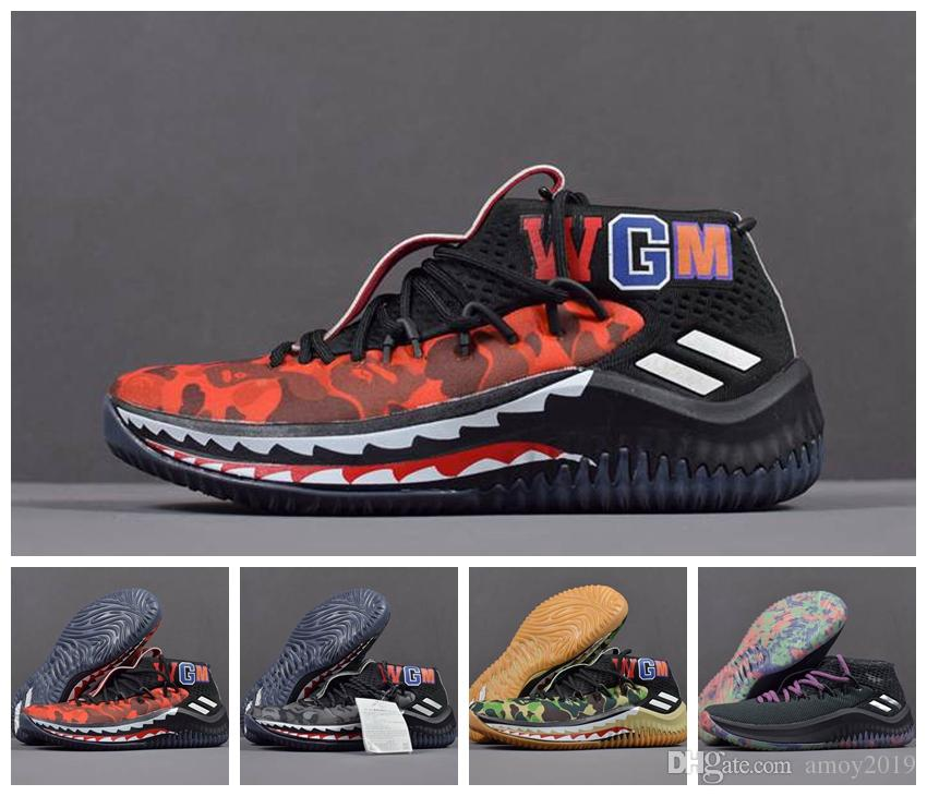 2018 Damian Lillard 4 Shark Men Basketball Shoes Dame 4s Camo Green Red WGM  Sports Mens Trainers Zapatos Sneakers Chaussures Designer Shoes Sneakers For  ... 73565ca72