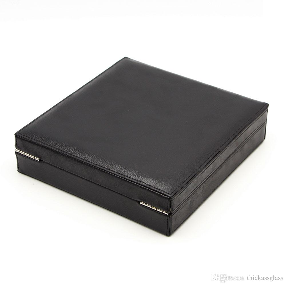 New arrival good quality black color leather and cedar cigar accessories tool cigar humidor case with humidifier