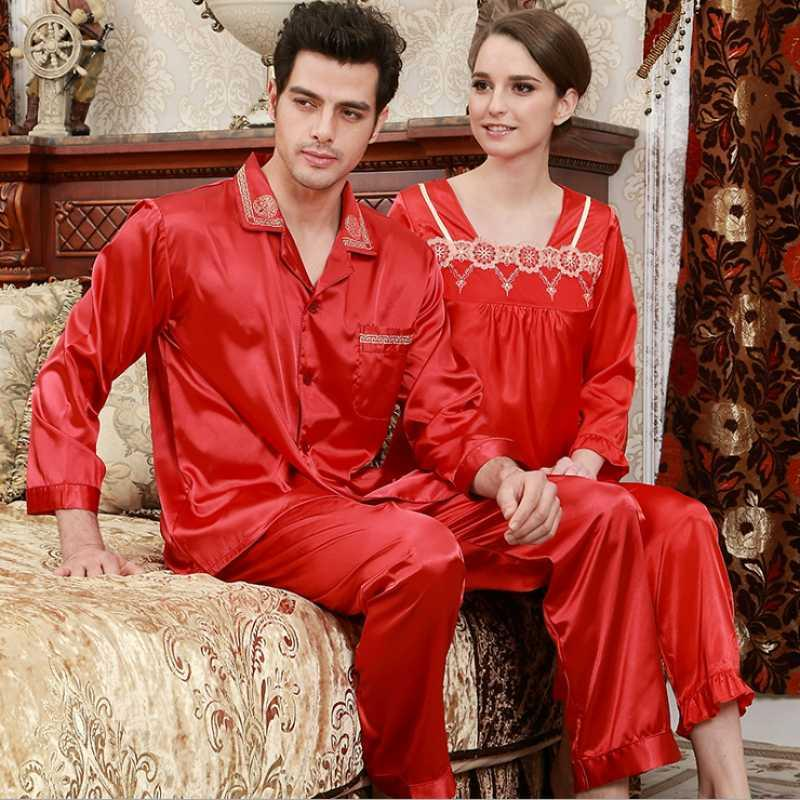 2018 2017 Spring Brand Homewear Couples Chinese Style Pajama Sets Men Turn  Down Collar Shirt   Pants Male Silk Like Sleepwear Suit From Masue 51d6fb03f