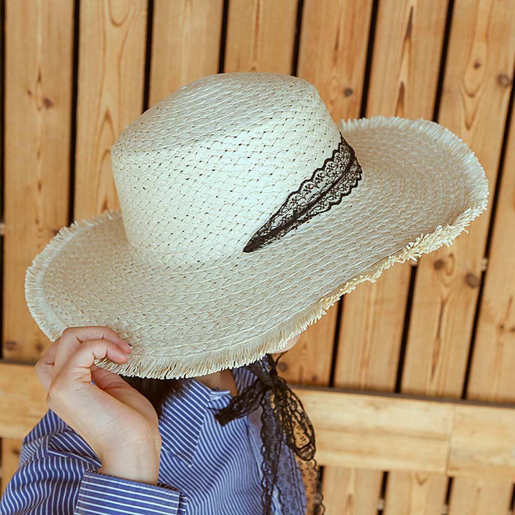 Compre Mulheres Verão Chapéu De Palha De Largura Da Borda Fita ... 494af091f82