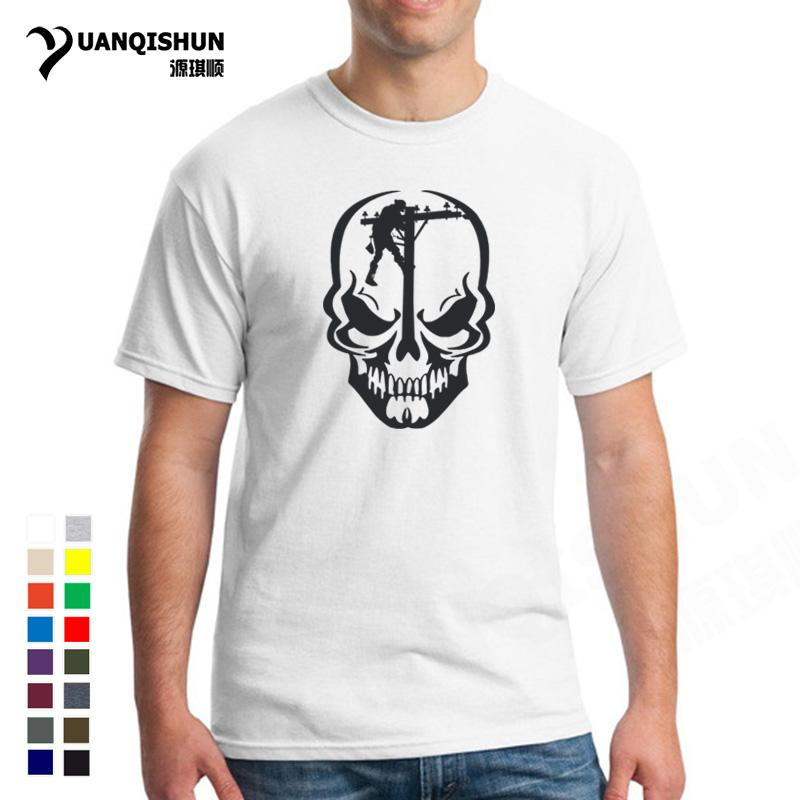 c90914e9 Funny For Skull Lineman Tshirt Novelty Design Journeyman Electrician  Personality Skulls T Shirt Top Quality Men Cotton Tee Shirt Discounted T  Shirts Tee ...