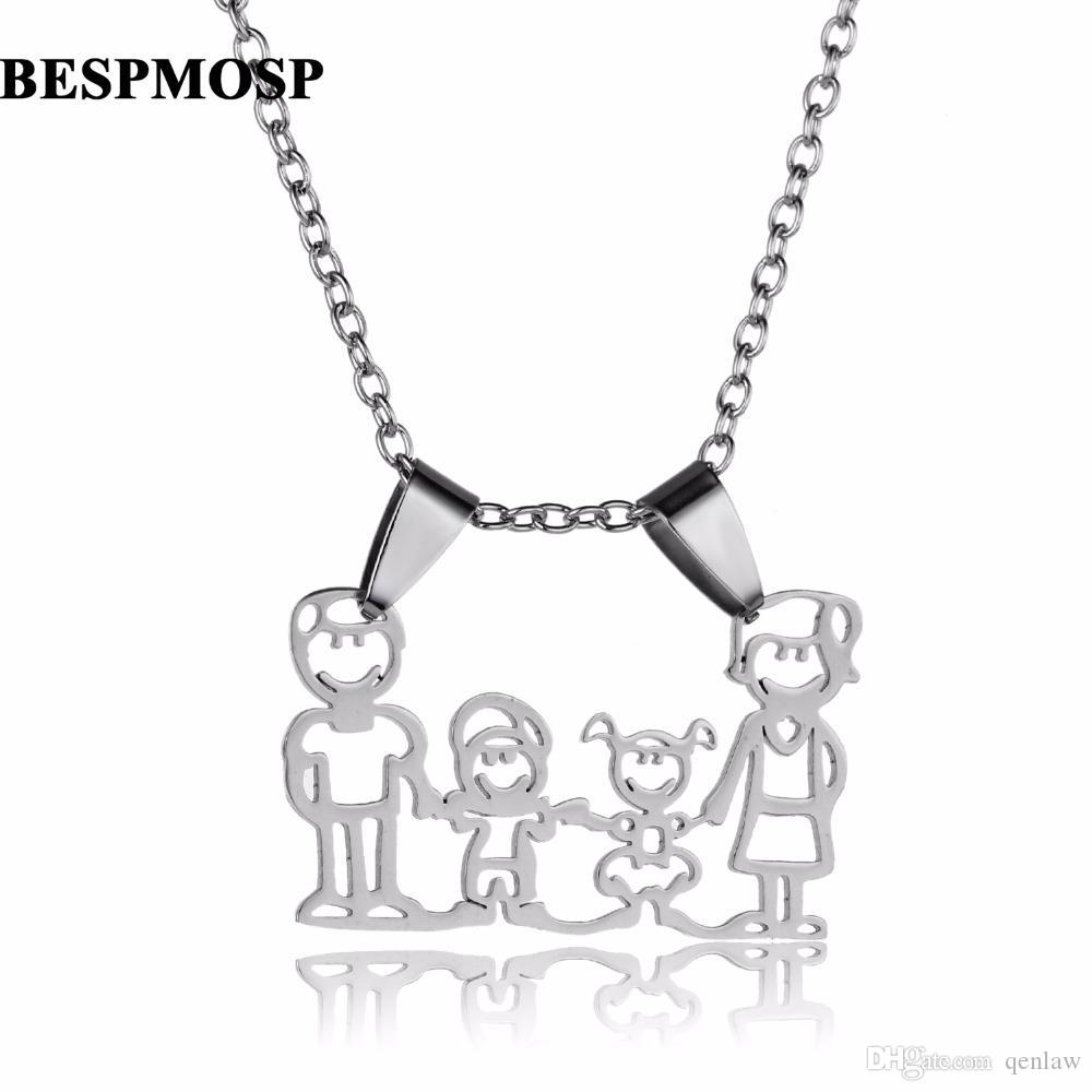 3328d19c2 Chic Family Necklace Dad Mom Love Son Daughter Stainless Steel Pendant  Chain Necklaces Mothers Fathers Boys Girls Jewelry Gifts