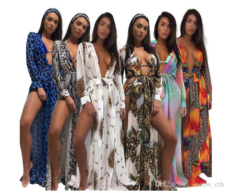 2018 Women See Through Beach Maxi Maxi Leopard Print Grembiule da bagno Sexy Ladies Womens Split Bandage Abiti da spiaggia Abbigliamento
