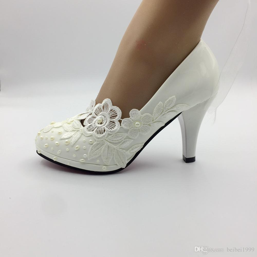Custom Made Bridal Shoes Melbourne: Handmade White Lace Pearl Wedding Pumps Shoes Women High