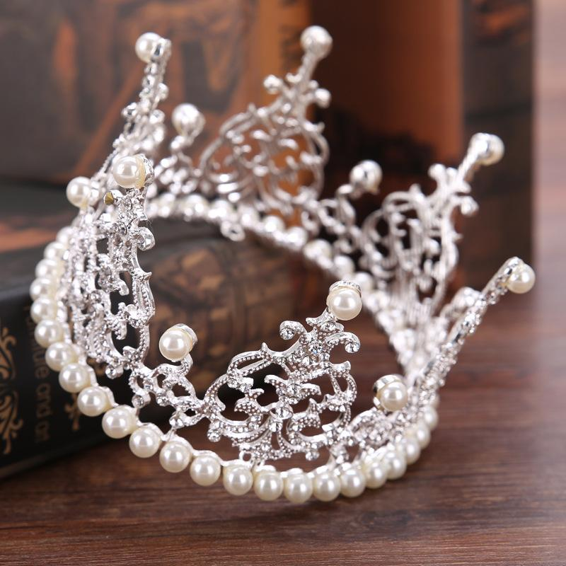 Baroque Pearls Princess Bridal Crowns Beaded Silver Bridal Tiaras Headband Crystal Wedding Diadem Queen Crown Tiara Wedding Hair Bands