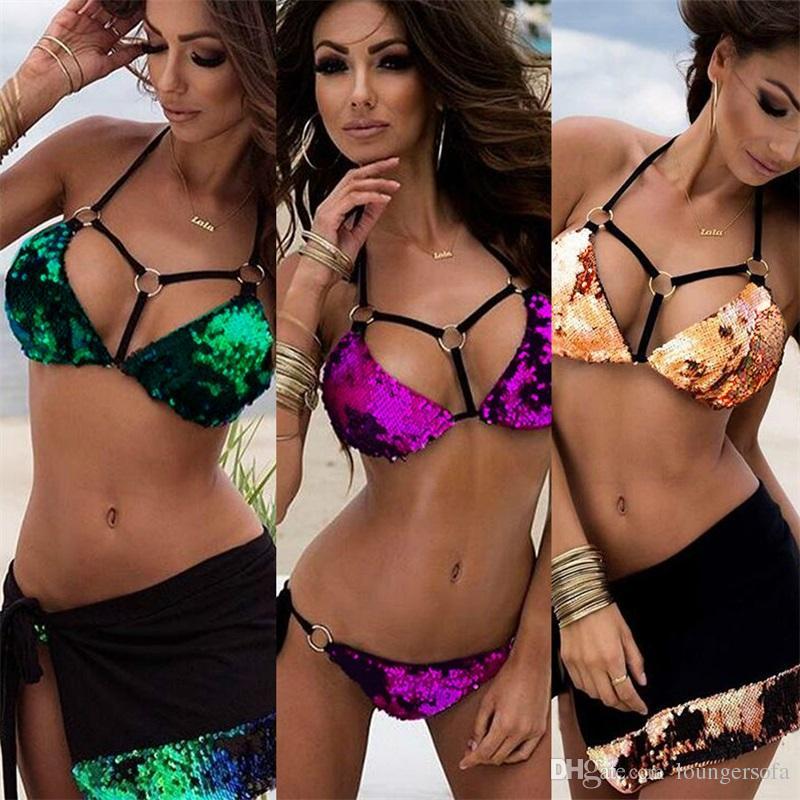 Femme Swimwear Anello Fibbia Fasciatura Sirena Paillettes Costume da bagno Donna Donna Bikini Due pezzi Abiti Sexy Terylene Vendita calda 24sm V