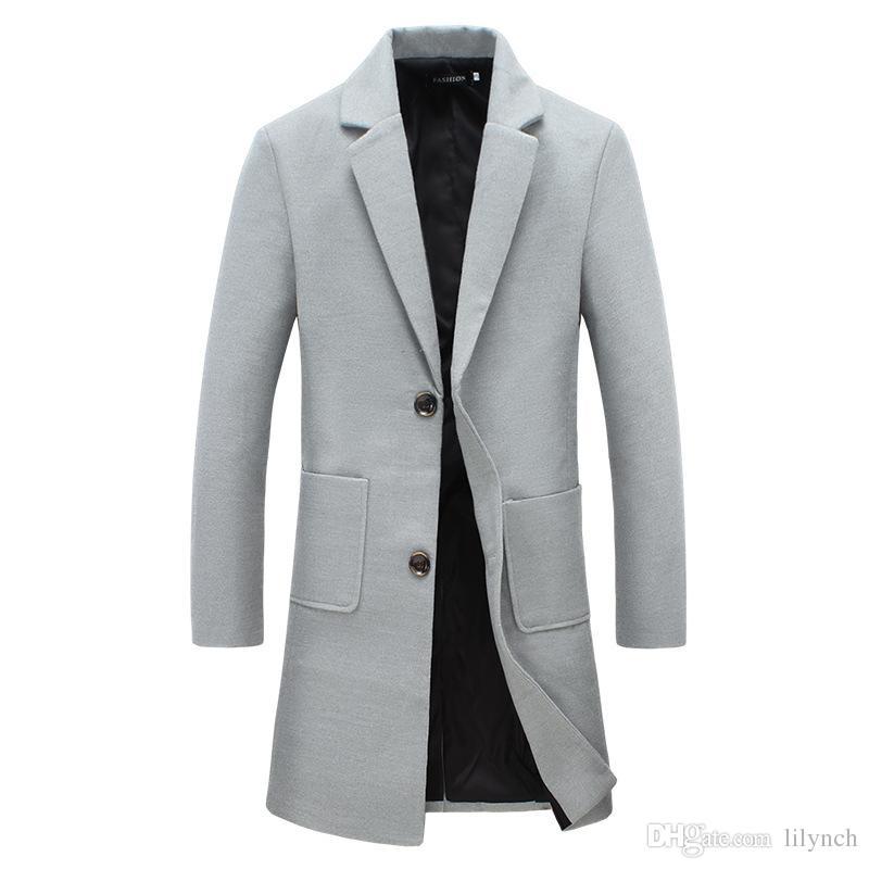 Ropa de la marca de primavera venta de los hombres nuevos de color sólido de gran tamaño de la solapa delgada larga cazadora casual de lana británica abrigo de lana
