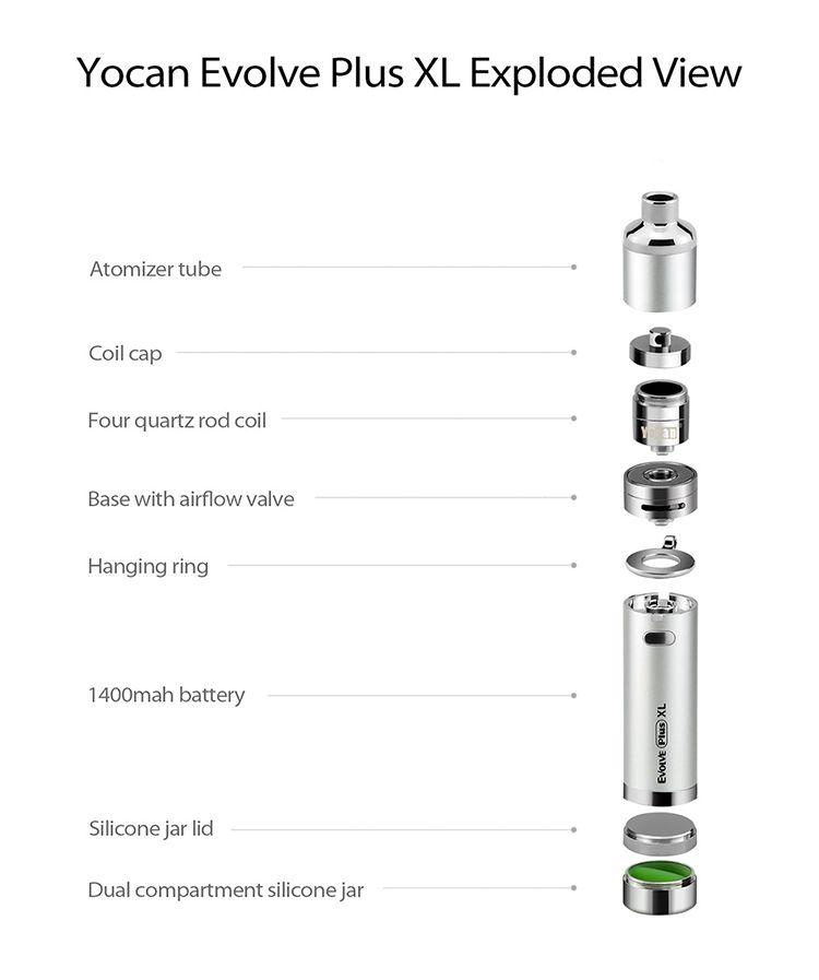 Authentic Yocan Evolve Plus XL Kit Wax Vaporizer Pen 1400mAh Vape Dab Pen Kit QUAD Coil Huge Vapor Authorized Seller