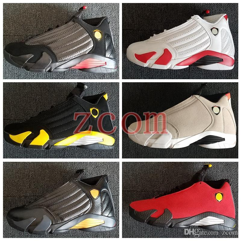 official photos 9ad97 43fd5 2018 New 14 Desert Sand Last Shot Black Red Gold Toe DMP Oxidized Thunder  Mens Basketball Shoes 14s Candy Cane Women Trainers