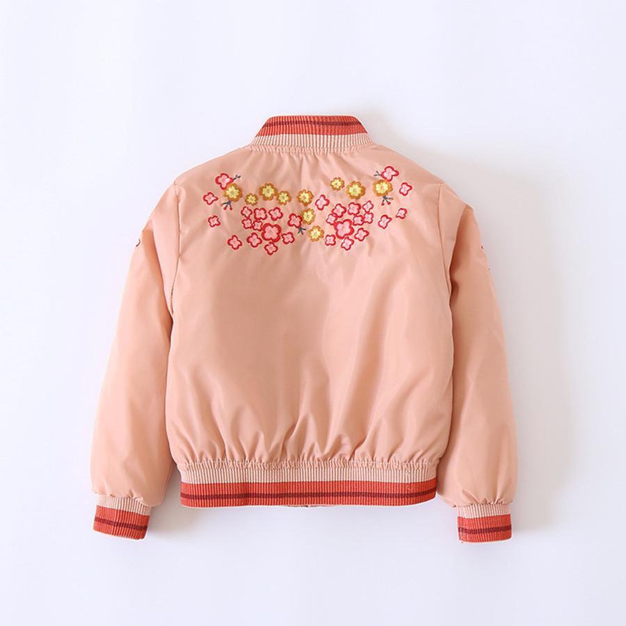 Las muchachas cubren la manera rosada caliente acolchada chaqueta de bombardero Niños bordado de invierno flor de la chaqueta acolchada para niñas bonitas niños parka