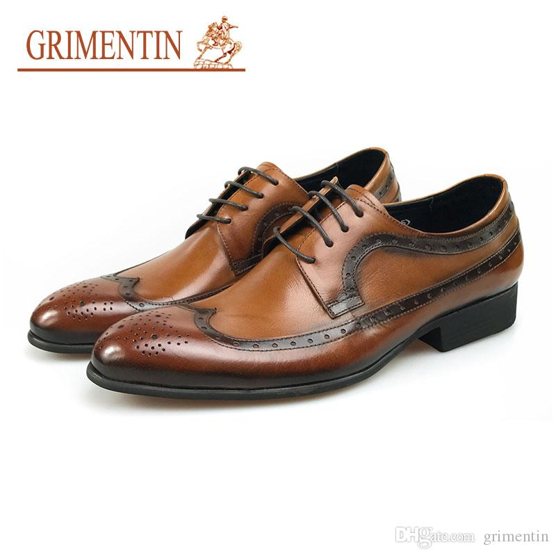 ae1349a6546efd GRIMENTIN Hot Sale Mens Shoes Italian Fashion Designer Man Oxford Shoes  Genuine Leather Lace Up Formal Business Wedding Mens Dress Shoes WF Cheap  Shoes ...