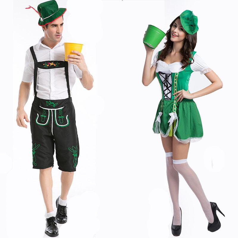 bb4ae4a4062 Couple German Beer Okotoberfest Bavarian Lederhosen Adult Halloween  costumes Fancy Party dress Outfit for Men / Women