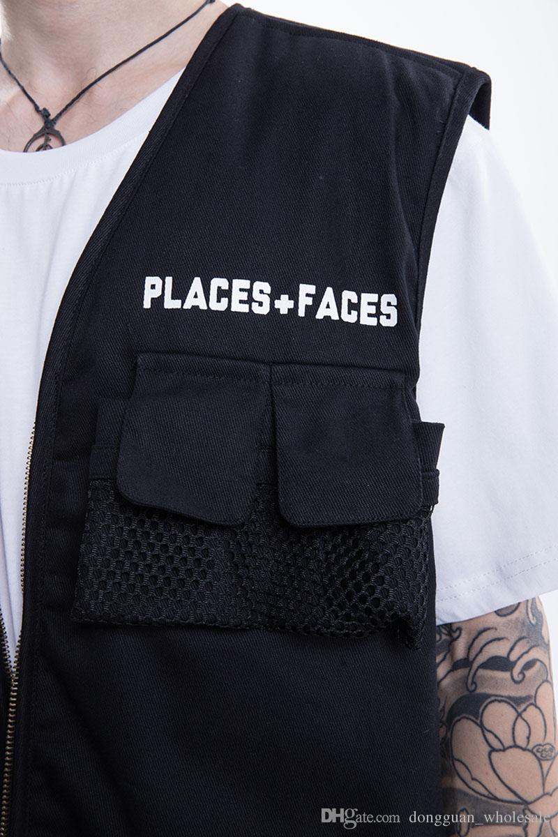 Places + Faces Ärmellose Jacke Männer Frauen a1: 1 Hochwertige Herbst Winter Places Faces Jacken Mode Hip Hop Places + Faces Jacket