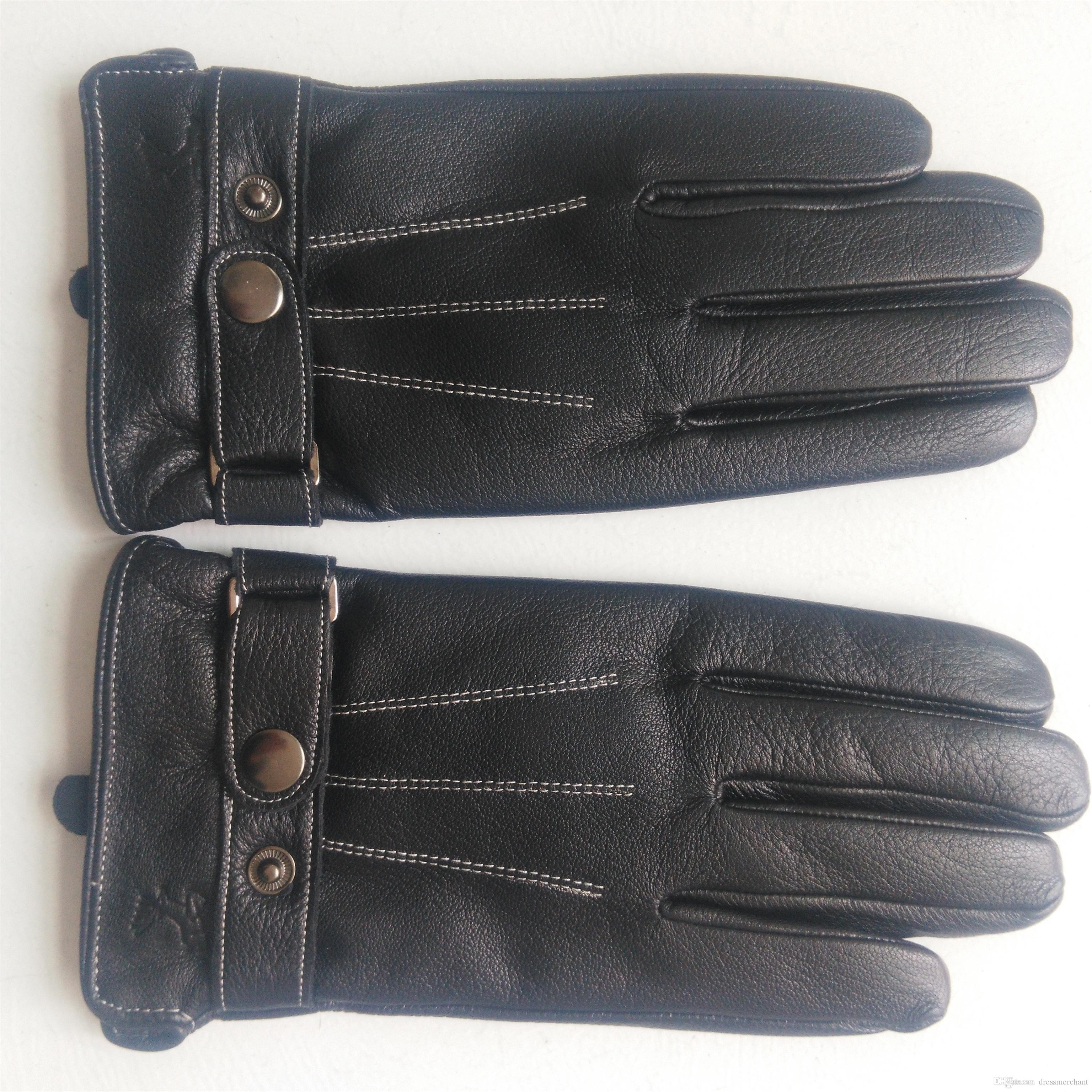 Guanti da uomo in pelle abbigliamento autunno e inverno caldi guanti di pelle di pecora guanti sportivi di moda