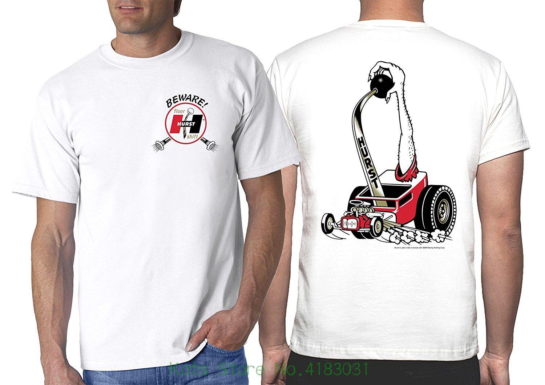Hot Shirts Hurst Beware! Floor Shift White T shirt : Shifter Wheels Decal  Vintage Drag Gasser Rude Top Tee Round Neck