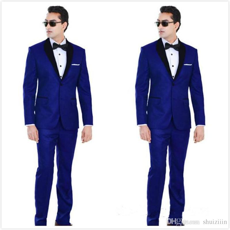 2018 Classic Royal Blue Wedding Tuxedos For Groom and Groomsmen Black Shawl Lapel Prom Suits Two Buttons Mens Suits Jacket+Pants+Tie