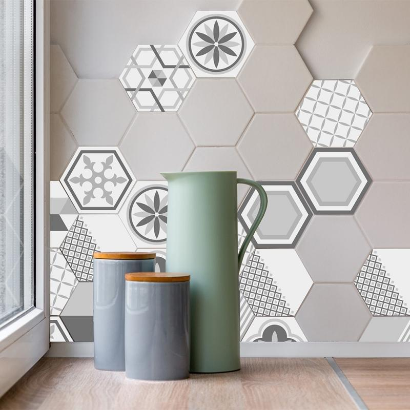 geometric hexagonal 3d tile sticker waterproof backsplash easy to