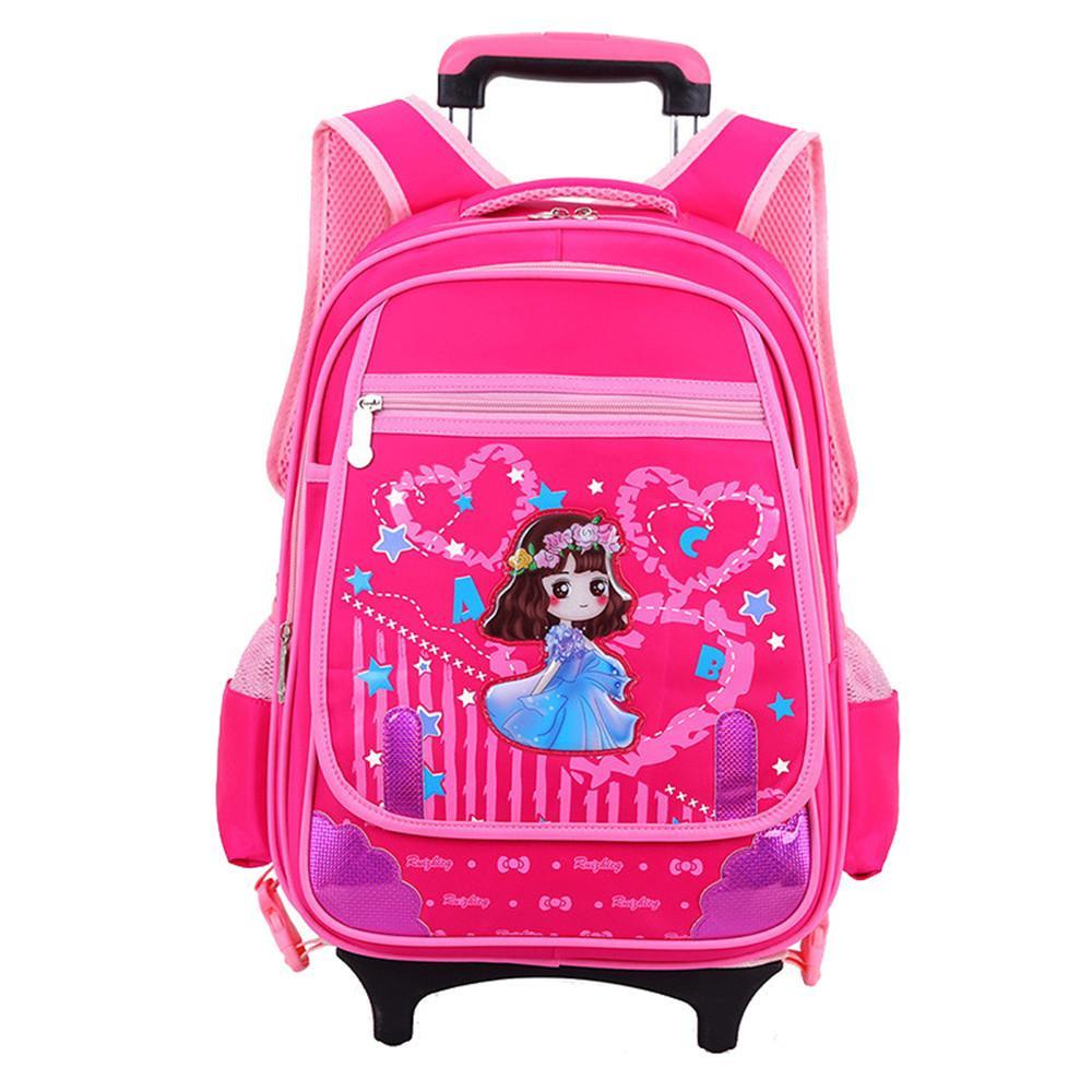 7ddd676570 Kid s Trolley Backpack 2 6 Wheels Removable Children Schoolbag 2 6 Grade  Girls Printing Shoulder Bag Travel Backpack Hand Bags Leather Handbags From  ...