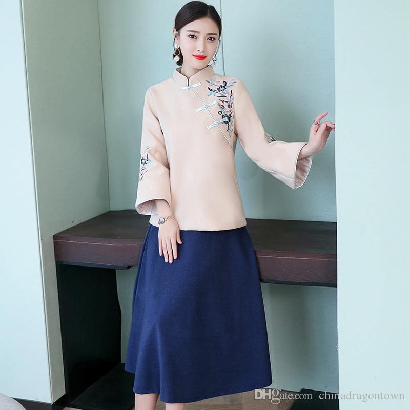 a3fa2456d7eb 2019 Traditional Chinese Ethnic Clothing Women Two Piece Set Top And Skirt  Embroidery Woman Tang Suit Set Elegant Female Two Piece Sets From  Chinadragontown ...