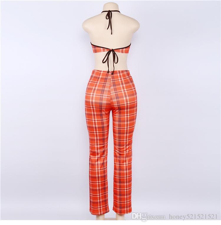 الأوروبية الجديدة أزياء المرأة مثير البرتقال منقوشة طباعة الرسن الرقبة أعلى محصول سترة بوستير وارتفاع الخصر السراويل الساق واسع طويل دعوى twinset