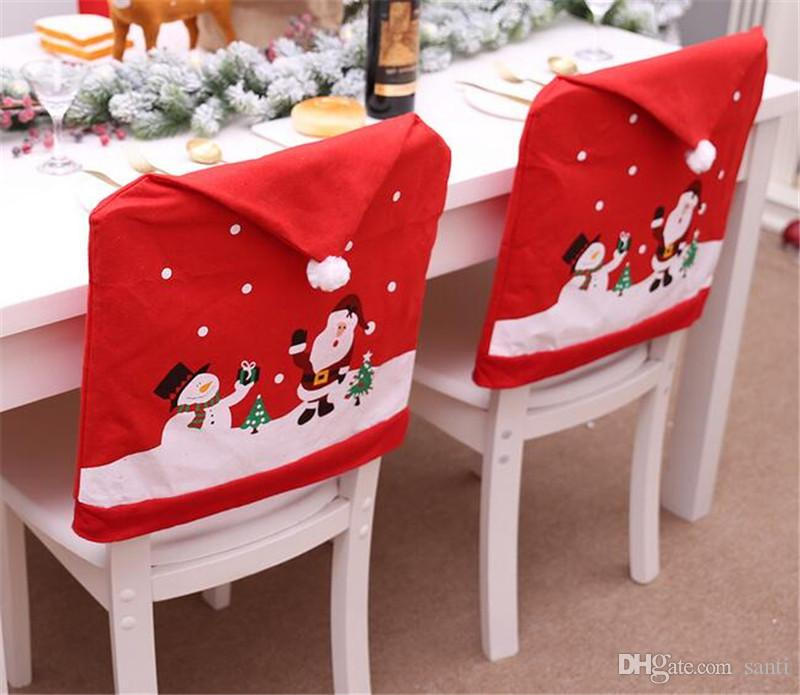 Hot Home Festive Snowman Cap Chair Covers Christmas Dinner Table Decoration for Home Chair Back Cover Decoracion