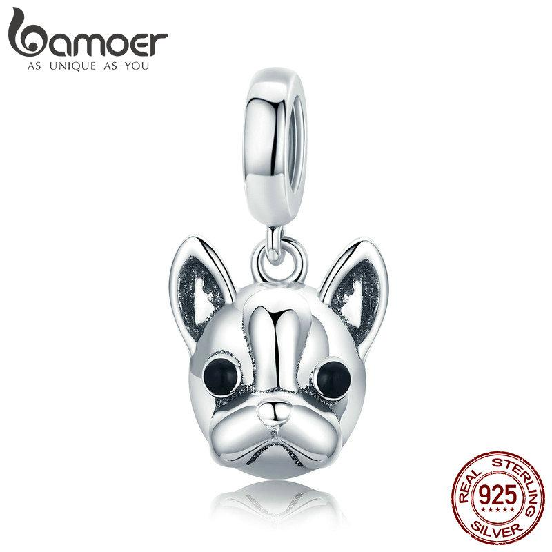 BAMOER Hot Sale 925 Sterling Silver Animal Bulldog Pendant Dog Charm fit Women Charm Bracelets & Necklaces DIY Jewelry SCC817