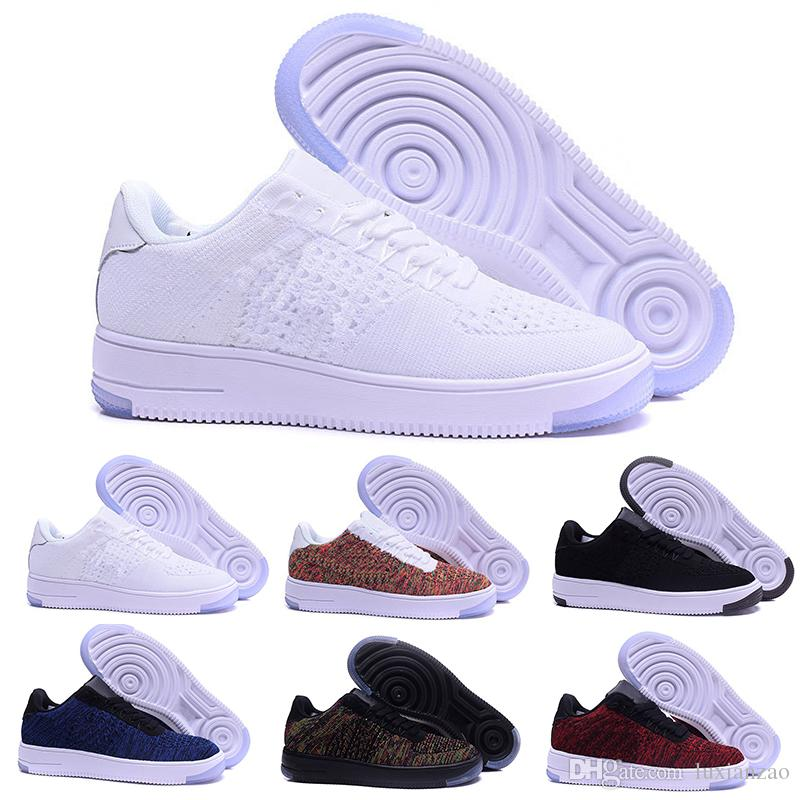 release date 74603 e165c Compre Nike Air Force 1 One Flyknit 1 One Knit Classic Fly Line Hombre  Mujer High Low Off Lover Zapatillas De Skate Diseñador Sports Casual Shoes  Blanco ...