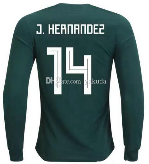 0efcc7e6d3a 2019 18 19 Mexico Home Customized Thai Quality Long Sleeve 14 J.Hernandez Soccer  Jerseys Shirts,11 CARLOS V 14 J.Hernandez 16 H. HERRERA Wear From Yakuda,  ...