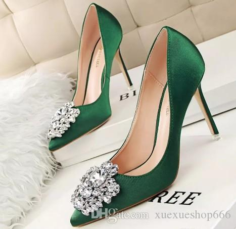 673e71a3bf Beautiful Lady Dress Shoes Rhinestone Design Women Pointed Toe Thin High  Heels Satin Sexy Party Festival Wedding Shoes Women Pumps