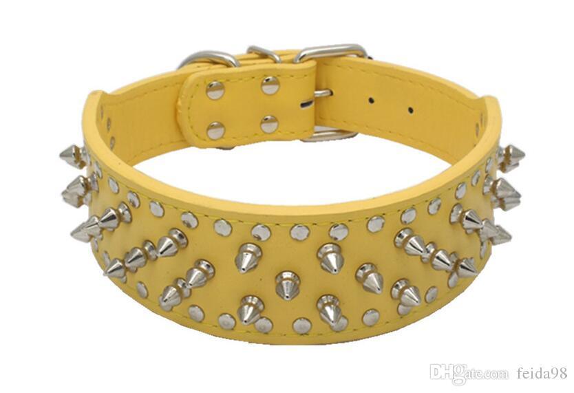 Bursting Persönlichkeit Niet Haustier Kragen benutzerdefinierte Hund Kreis PU Kragen große Hund Kette Haustier Haushalt Produkt LO17