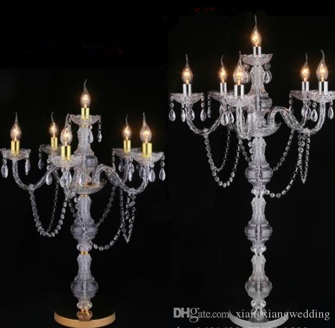 Acrylic Crystal LED Lamp Wedding Road Lead 6 Arms Candle Holder Shaped for Decoration Six Sizes