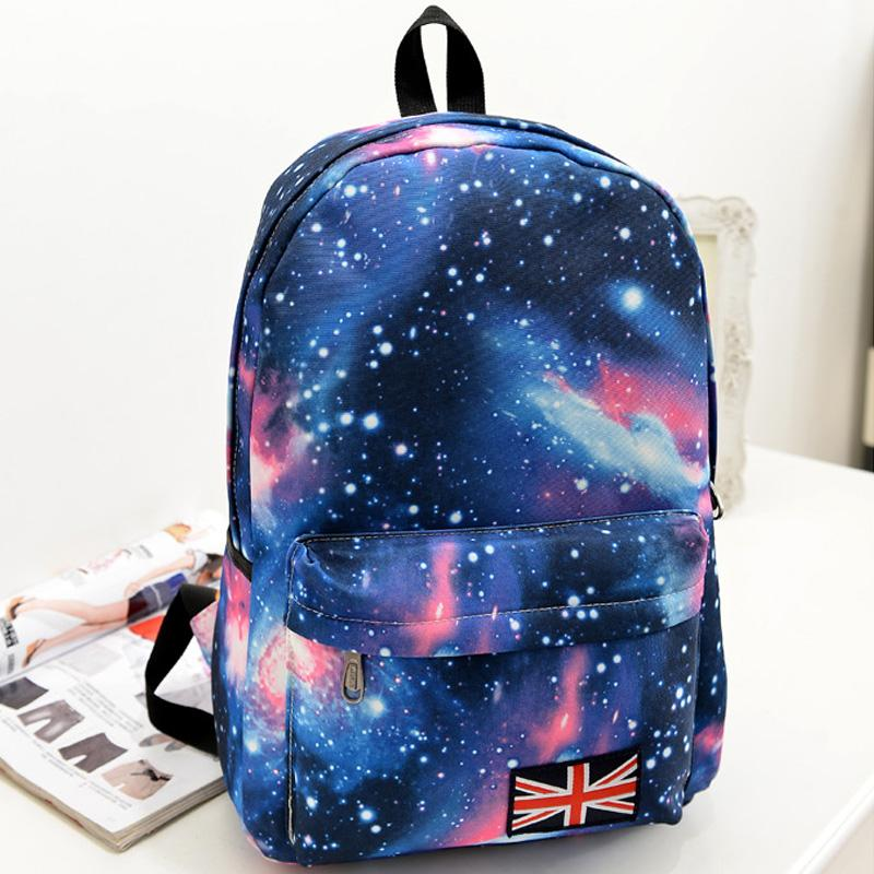 STANCHION Fashion Women Stars Universe Space Printing Backpacks School Book British Flag Stars Bag Style