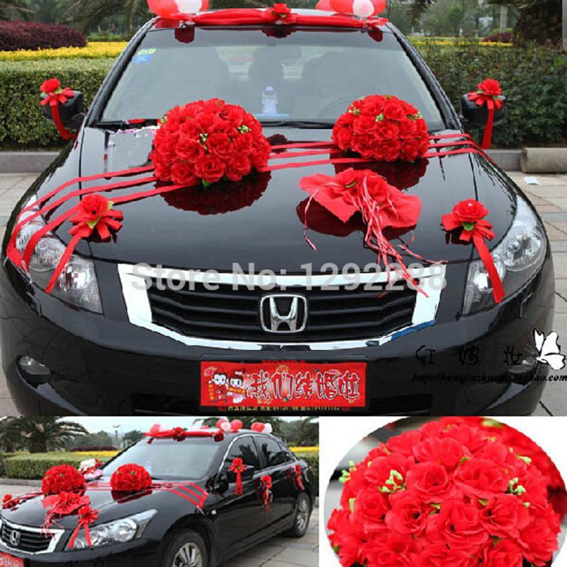 Großhandel 1 Satz Los Hochzeit Auto Dekoration Künstliche Blumen