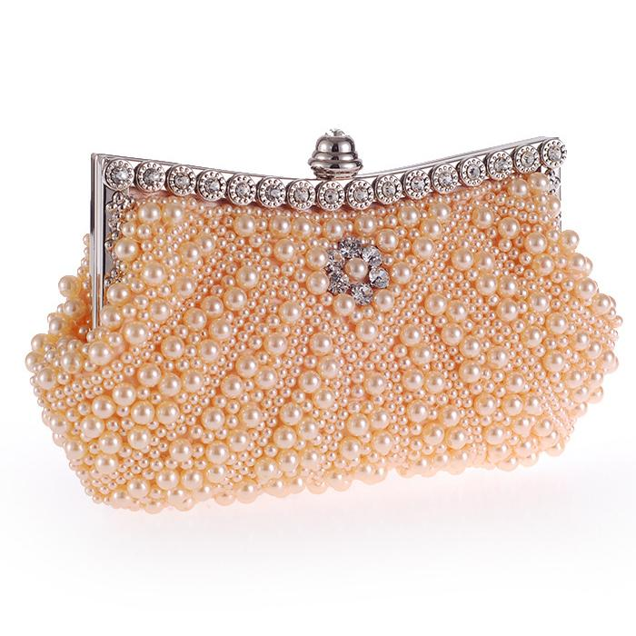 Shell Design Beaded Women Evening Bags Handmade Imitation Pearl Lady Handbag Messenger Rhinestones Chain Shoulder Day Clutches
