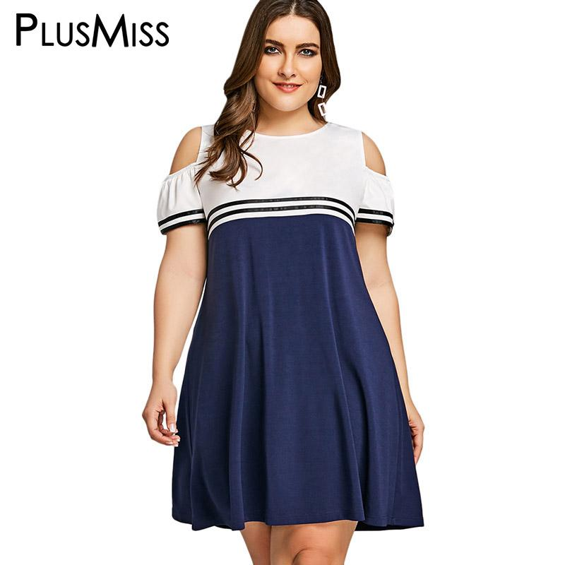 PlusMiss Plus Size 5XL Summer 2018 School Sexy Cold Shoulder Dress Women  Clothing Large Size Sundress Short Sleeve Loose Dresses UK 2019 From Silan 775263cfd5e6
