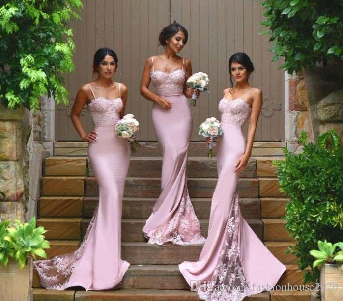 519d0e27b225 Lilac Lace Bridesmaid Dresses 2018 Country Spaghetti Staps Appliques Mermaid  Sheath Sweep Train Satin Plus Size Maid Of Honor Dresses Custom Summer ...