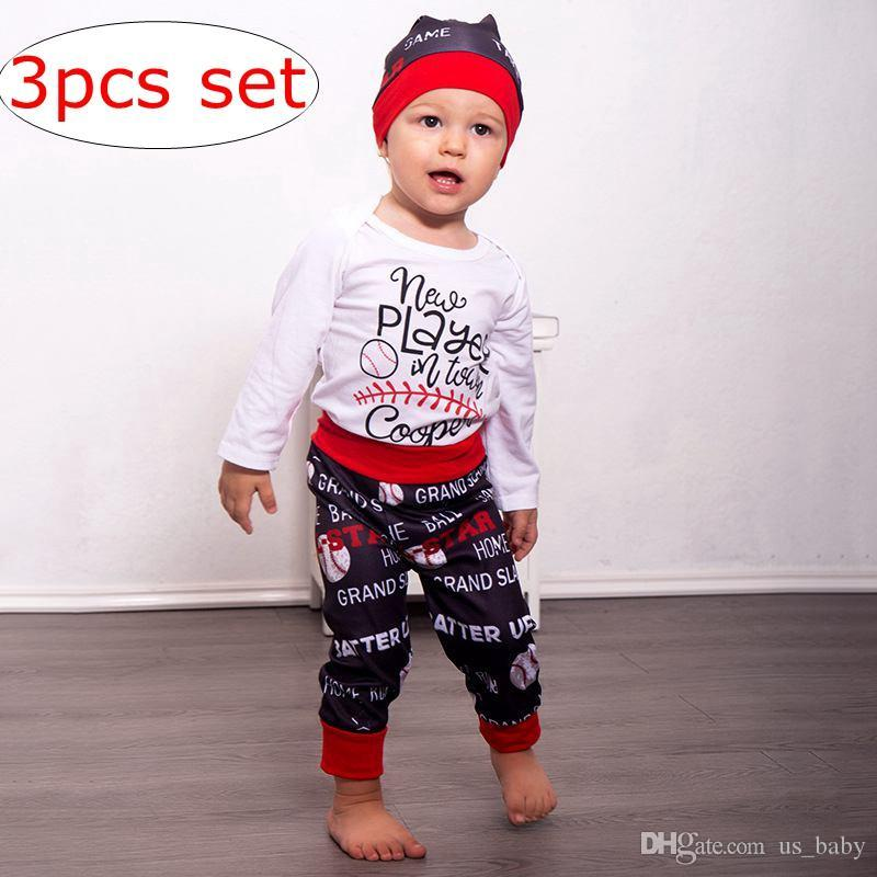 de195c9b347e2 2019 INS Baby Baseball Print Outfit Girls Cotton White Letter Rompers    Black Red Pants   Hat Set From Us baby