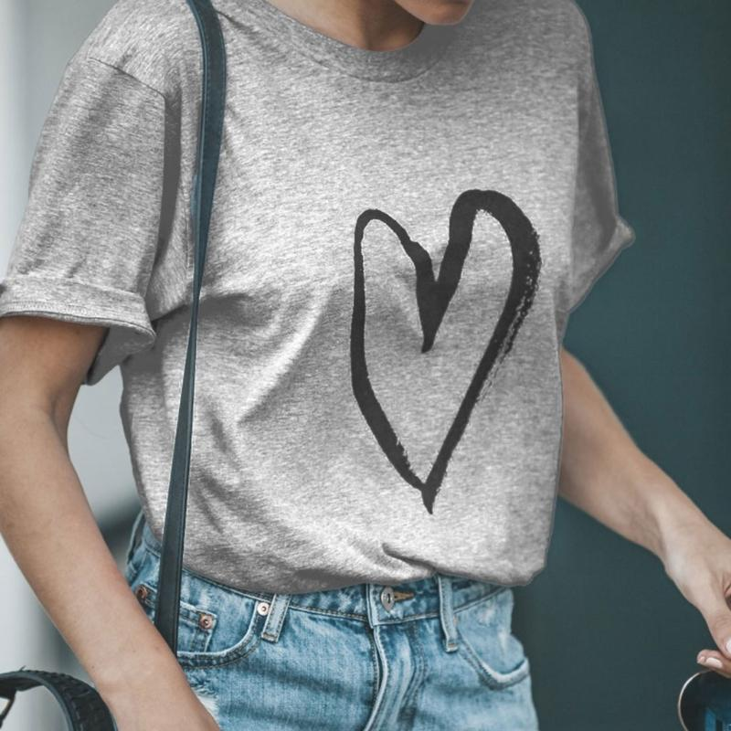 ec45f175a 2018 New Summer Womens Love Cursive Heart Design Cute Relationship Girly T  Shirt Shirts With Designs R Shirt From Chikui, $33.37| DHgate.Com