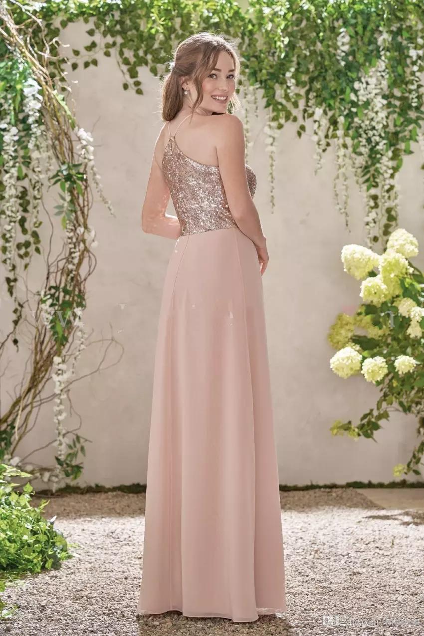 Lentejuelas brillantes Vestidos de dama de honor largos y baratos Escote mixto Chiffon de flujo Summer Rose Blush Dama de honor Vestidos de fiesta de graduación con volantes