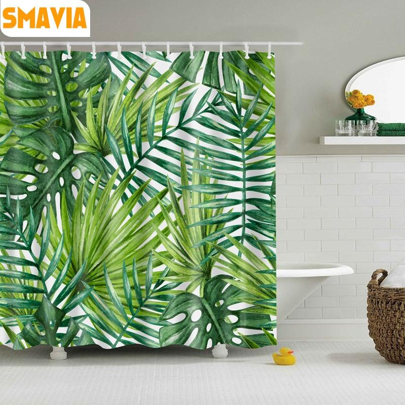 Wholesale-SMAVIA Green Leaf Shower Curtains Easy Install Polyester ...