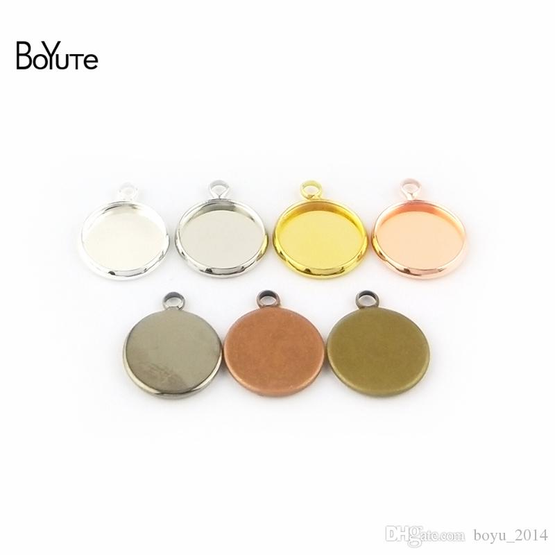 BoYuTe Plated Round 10MM 12MM 14MM 16MM 18MM 20MM 25MM Cameo Cabochon Base Diy Blank Tray Pendant Base